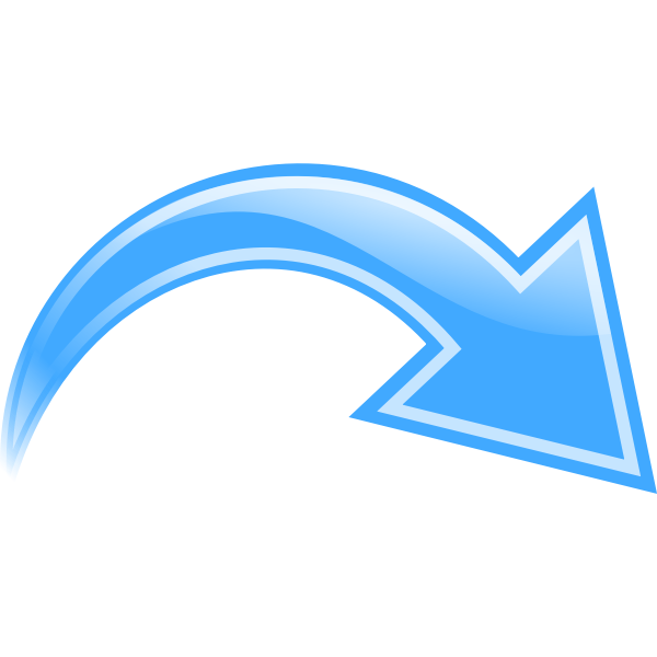 Vector graphics of blue curved arrow down