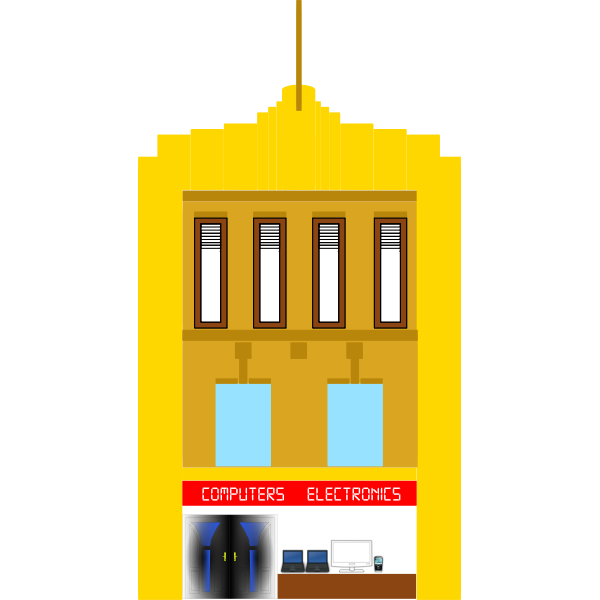 Vector image of three-storey yellow building