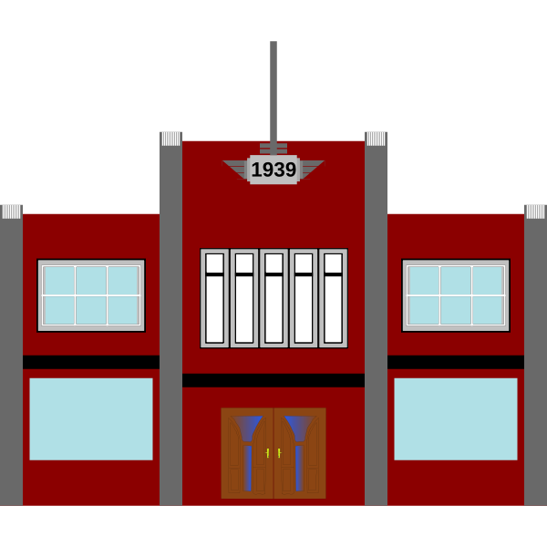 Vector illustration of late-1930s art-deco commercial building