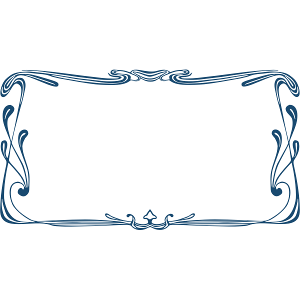 Blue art nouveau frame vector clip art