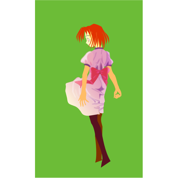 Vector drawing of red haired anime character