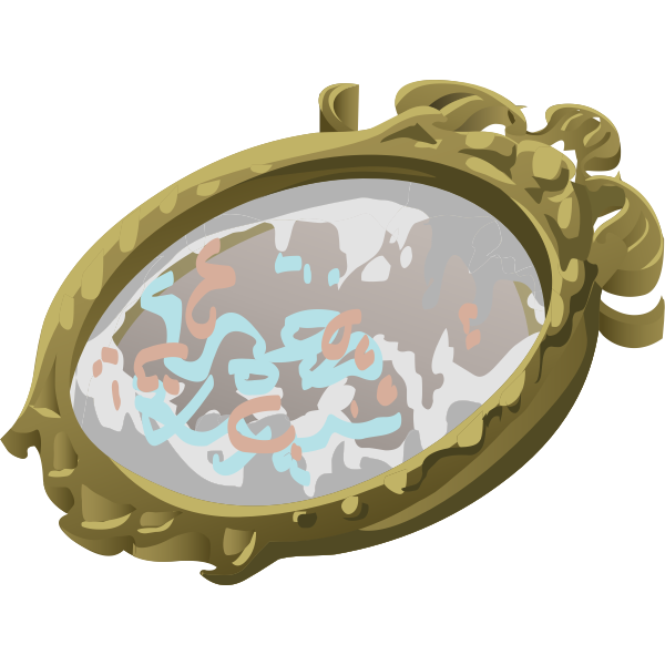 artifact mirror with scribbles