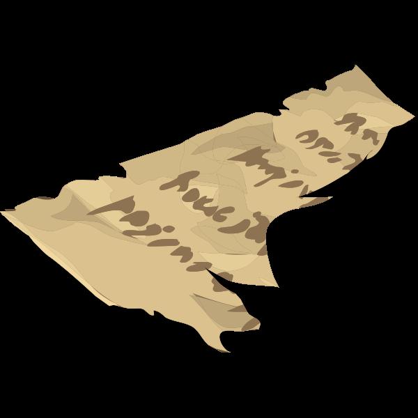 Vector drawing of torn artifact manuscript