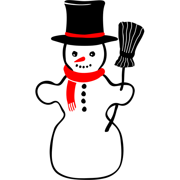 Vector image of retro snowman with broomstick