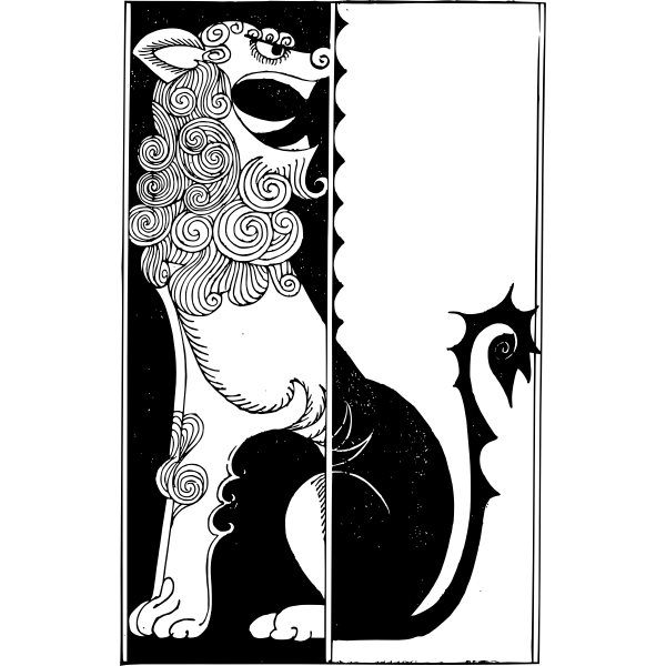 Lion Yin Yang vector sign