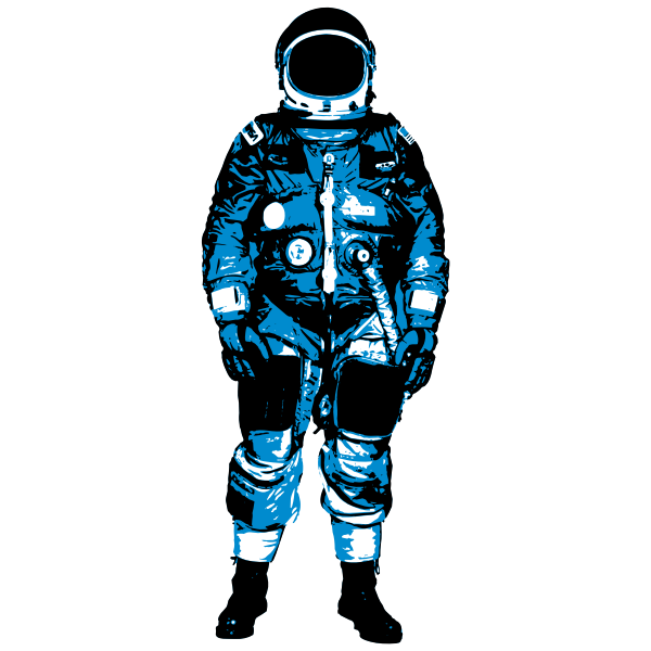 Astronaut in blue space suit vector image