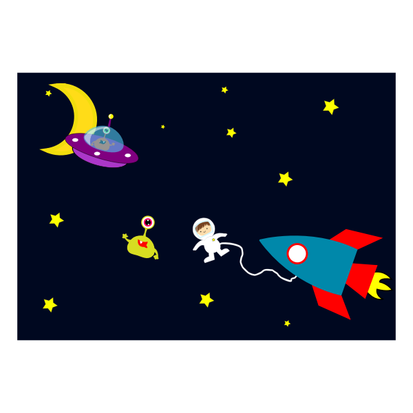 Astronaut meets aliens in space vector illustration