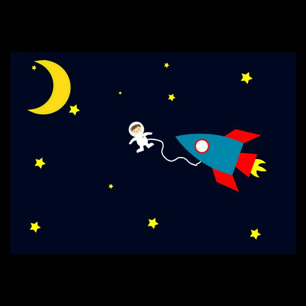 Astronaut on space walk cartoon vector image
