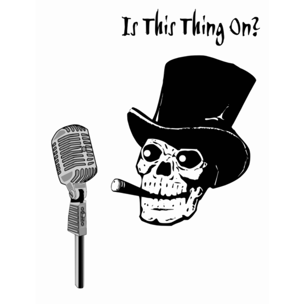 Skeleton head with microphone vector image