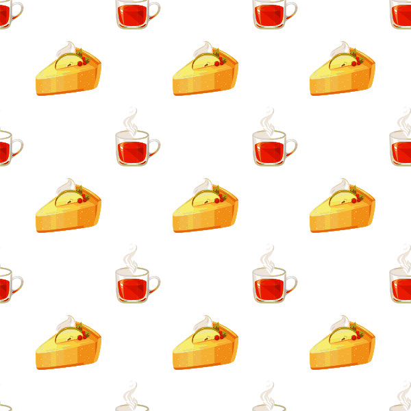 Tea and cake seamless pattern