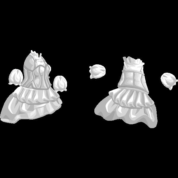 Vector drawing of female wardrobe long dress for avatar