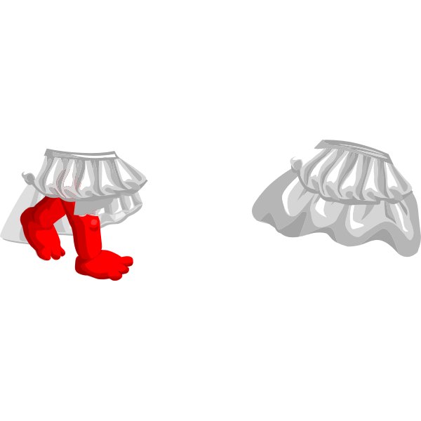 Vector image of female wardrobe skirt with red legs for avatar