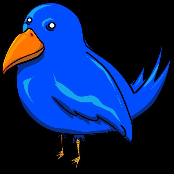 Blue bird with strange eyes and a big yellow beak vector clip art