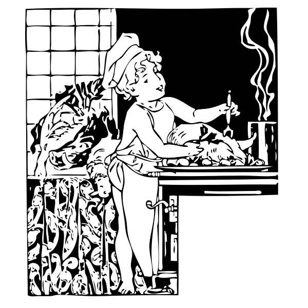 Vector image of a young child as a cooking chef