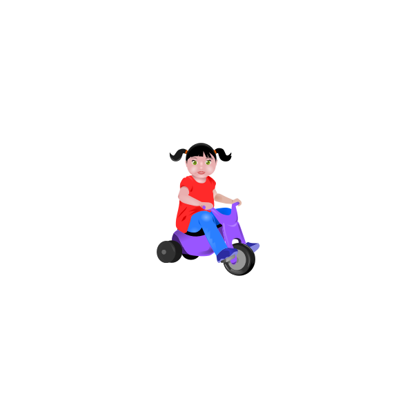 Little girl on a trycicle