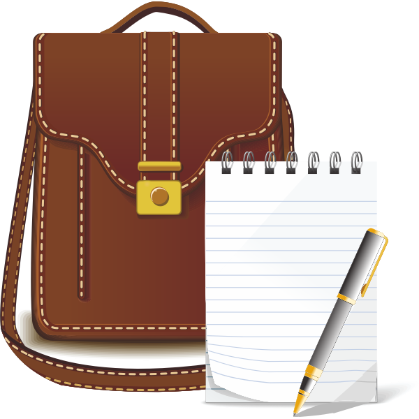 Leather bag and notebook