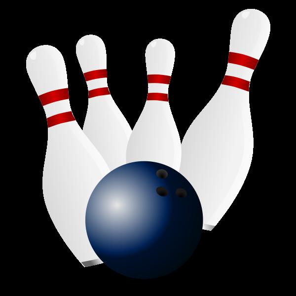 Bowling pins and bowling ball vector drawing