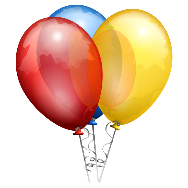 Vector illustration of three decorated party balloons