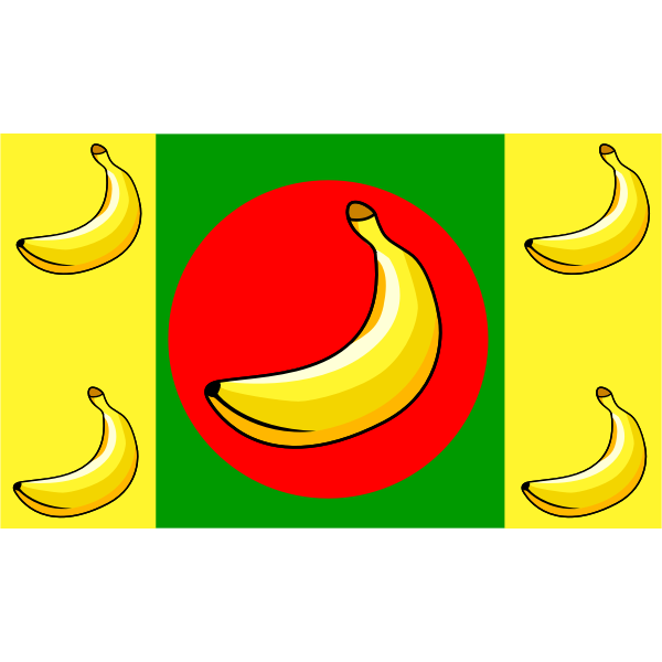 Vector clip art of banana flag with five fruits