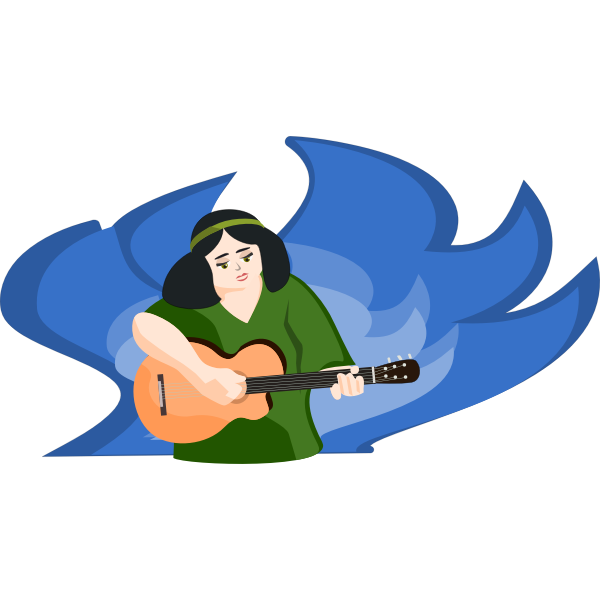 Woman playing guitar vector illustration