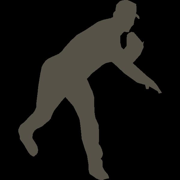 Silhouette vector graphics of baseball player