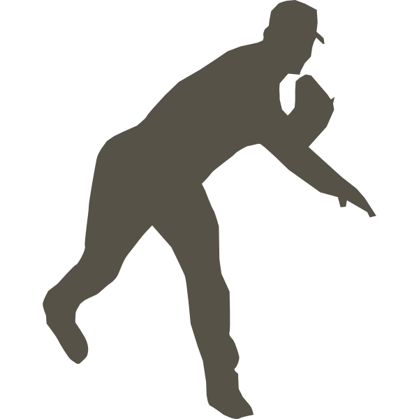 Silhouette vector graphics of baseball player