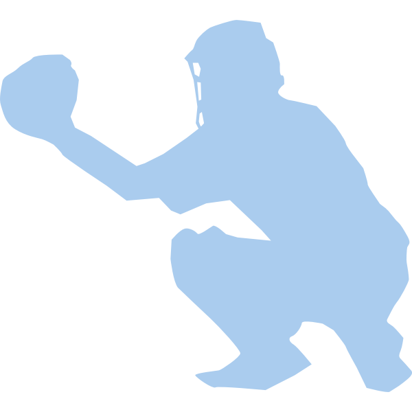 Baseball player squatting silhouette vector image