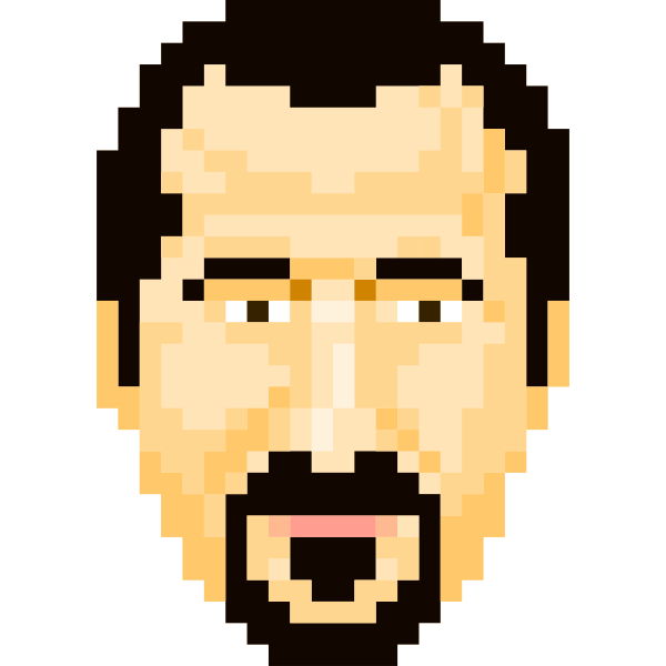 Vector illustration of bearded man pixel icon