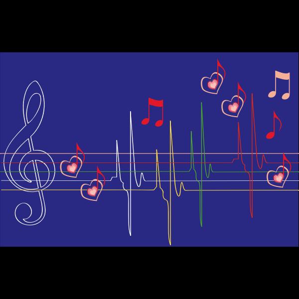 Musical hart beat vector image