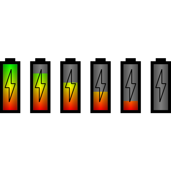 Vector illustration of set of different battery level status icons