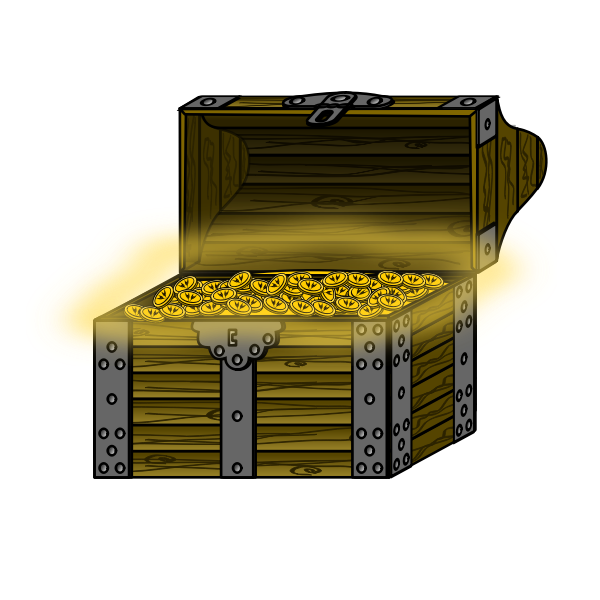 Vector graphics of wooden treasure chest