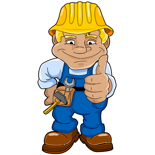 Vector drawing of construction man showing hands up
