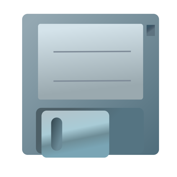 Vector clip art of blue floppy disc icon