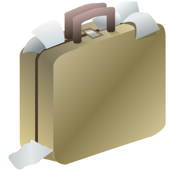 Clip art of brown shiny business luggage