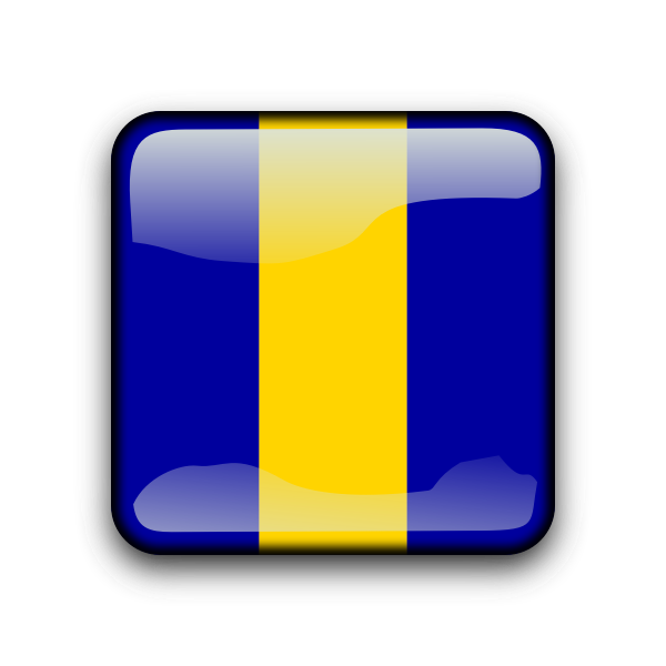 Barbados flag button
