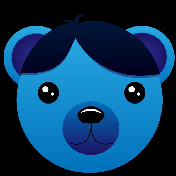 Cartoon bear with moist eyes vector illustration