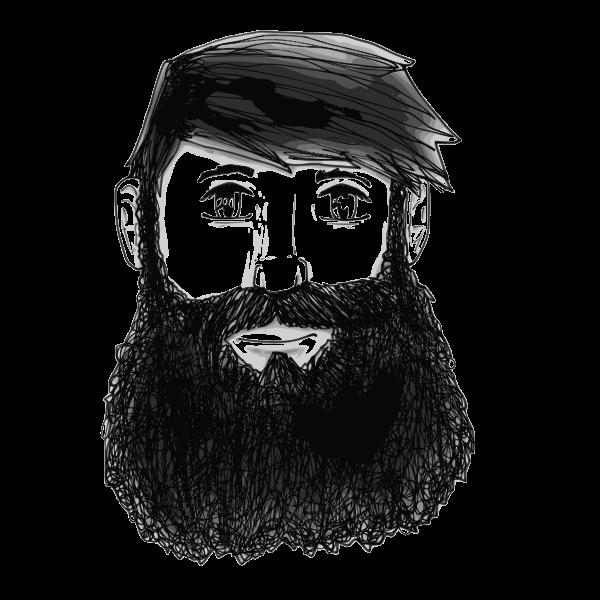 Vector clip art of bearded man