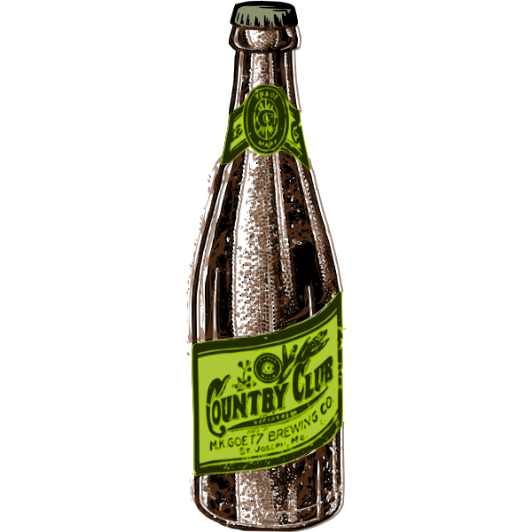 Vector illustration of brown and green beer bottle