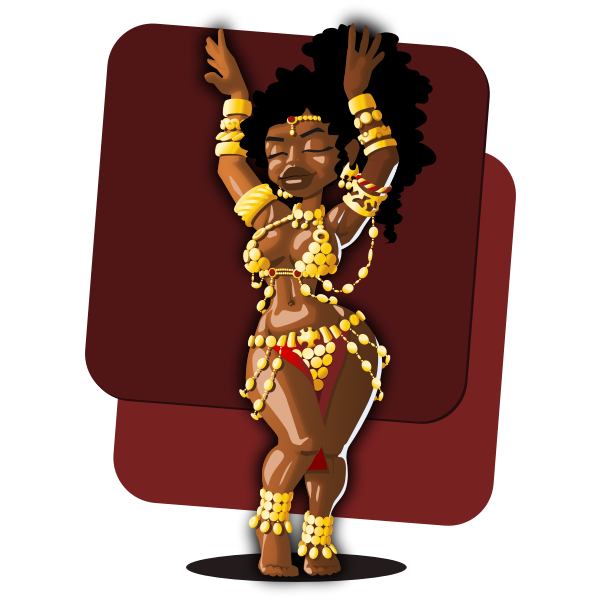 Vector drawing of belly dancer in gold-coin costume