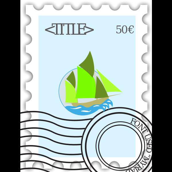 Vector illustration of stamped postage stamp,