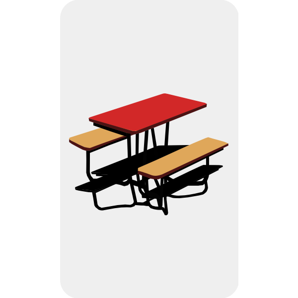 Vector graphics of park bench with a table