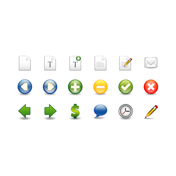 Vector image of wordprocessing and spreadsheets icon set