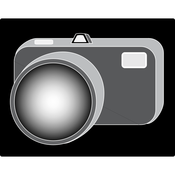 Vector drawing of simple camera icon with black background