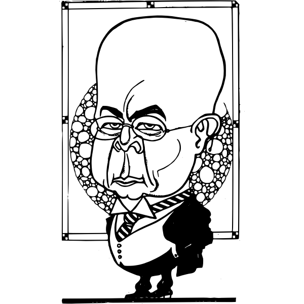 Vector clip art of big headed man in a suit