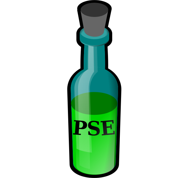 Bottle with green liquid