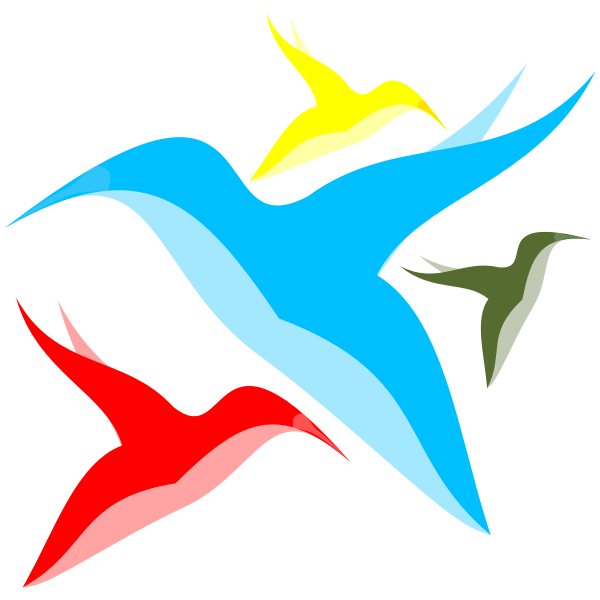 Abstract color bird silhouettes vector illustration