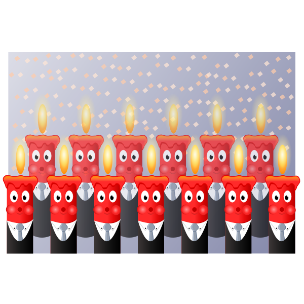 Vector drawing of birthday candles in suit