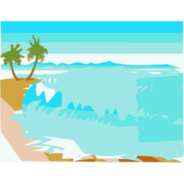 Vector drawing beach landscape