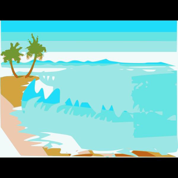Vector drawing beach landscape