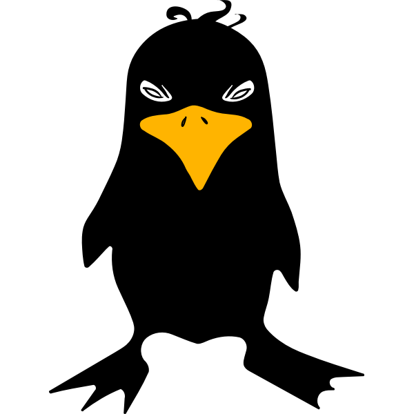 Angry tux color clip art